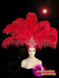 CHARISMATICO Red Showgirl Crystal Ostrich Feather Diva Headdress