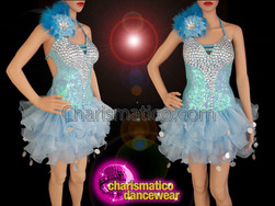 CHARISMATICO Blue Mambo Showtime sequin and crystal Crystal Latin salsa dress