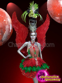 CHARISMATICO Red and Green coloured costume set with wings and elaborate headdress