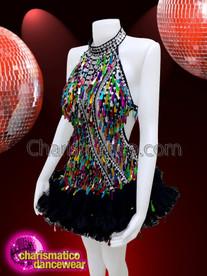 CHARISMATICO Rainbow Gay Pride Teardrop Sequin showgirl dress