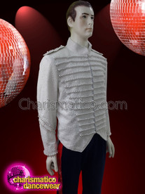 CHARISMATICO White men's high collar shirt with sequins and pearls