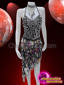 CHARISMATICO Silver and Black sequin Latin Salsa Diamond dress