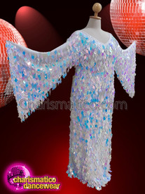 CHARISMATICO White wing  Sleeve Diamond sequin Drag queen gown