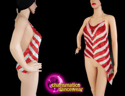 Sexy Diva Showgirl Metallic Red  Iridescent White Sequined Top Clearance  US 10-16