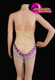 fuchsia Nude Sequin And Silver Sequin  Dance Leotard Clearance us 2-6