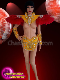 CHARISMATICO Brazil red and yellow feather bold beaded costume set