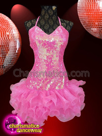 CHARISMATICO Pink sequined backless tie dress with frilled skirt