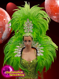 CHARISMATICO dramatic neon green multi layered feather headdress with collar