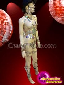 CHARISMATICO sexy silver cage costume with faux mask and wrist guard