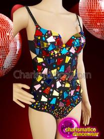 CHARISMATICO multi colored rainbow spaghetti strap leotard with broke glass details