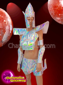 CHARISMATICO  futuristic geometric 3-piece silver costume for men with wrist guards