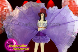 CHARISMATICO dramatic purple wing dress with wide belt and ruffled skirt