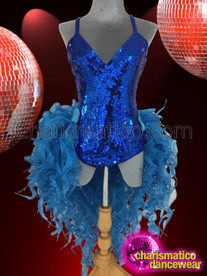 CHARISMATICO sexy royal blue sequin leotard with uneven front open skirt