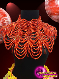 Charismatico  red multiple chain diva high collar necklace with diamonds