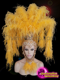 CHARISMATICO showgirl Canary yellow ostrich boa headdress