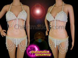 CHARISMATICO Look Sexy with this Beaded Burlesque Showgirl's Bra and Thong set