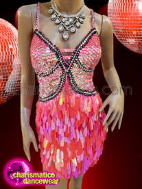CHARISMATICO Showgirl's Burlesque rouge pink sequin teardrop dress
