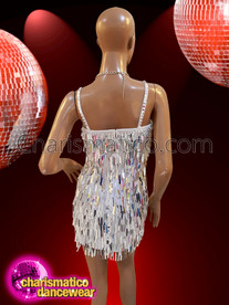 CHARISMATICO Showtime gorgeous white silver Rectangular sequins and crystals Diva dress