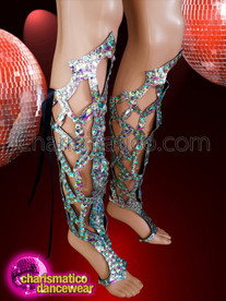CHARISMATICO  Royal looking high rise sexycrystal AB leg guard