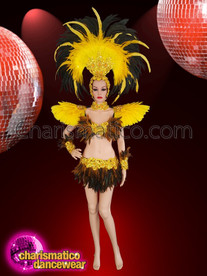 CHARISMATICO  Drag queen costume for Samba dance in yellow, brown and black feathers
