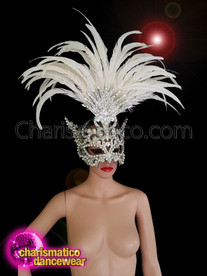 CHARISMATICO  The mask for Cabaret Dancers in white crystals and feathers