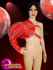 CHARISMATICO  Red shiny asymmetrical jacket with the work of beads and adjustable straps