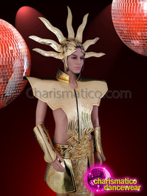 CHARISMATICO Egyptian gold pharaoh costume set with carved details