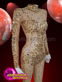 CHARISMATICO  Full sleeve nude catsuit with gold and bronze sequins
