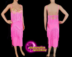 Pink fringe floral latin salsa 2 piece dance dress Clearance US  2-6