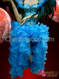 Charismatico Corseted Blue Cabaret Costume with Organza Skirt Feather Headdress