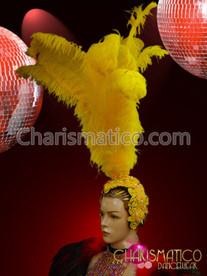 Exotic Iridescent Beaded Yellow Ostrich Feather Showgirl headdress