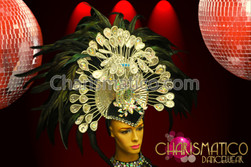 Charismatico Drag Iridescent Crystal Embellished Black Raven Feather Headdress