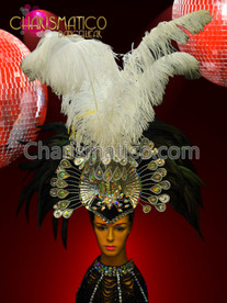 Charismatico Iridescent White Crystal Embellished Black Raven and Ostrich Feather