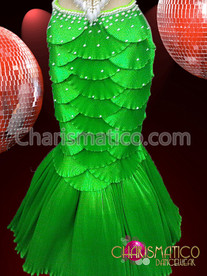 """CHARISMATICO Green Satin """"Scaled"""" Shell Bra and Mermaid Tail Showgirl Burlesque Skirt"""