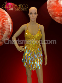CHARISMATICO Gold Glam Diva Sequin Mini-Dress with Jumbo Drop Sequin Fringe Skirt