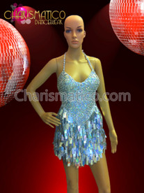 CHARISMATICO Silver Glam Diva Sequin Mini-Dress with Jumbo Drop Sequin Fringe Skirt