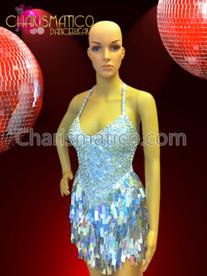 CHARISMATICO Silver Glam Diva Sequin Mini-Dress with Jumbo Drop Sequin Fringe Skirt