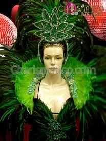 CHARISMATICO Green Feathered Mini-Dress, Collar, and Matching Headdress Rio Carnival Costume