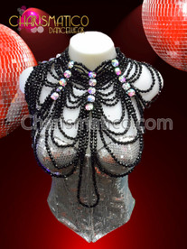 CHARISMATICO Iridescent Round Crystal Gathered Choker Style Black Beaded Draped Necklace