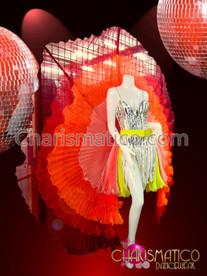 CHARISMATICO Five Layer Sheer yellow orange Flame Toned Pleated Organza Circular Showgirl Skirt