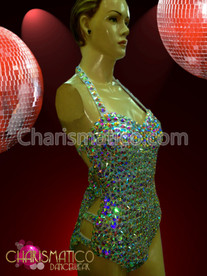 CHARISMATICO Halter Styled Iridescent Crystal Studded Showgirl Or Drag Queen Dance Leotard