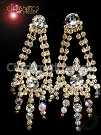 CHARISMATICO Floral Iridescent Crystal Accented Silver showgirl Rhinestone Tear Drop Style Earrings