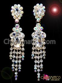 CHARISMATICO Lovely Iridescent DIVAS Crystal Silver Rhinestone Chandelier Style Stud Earrings
