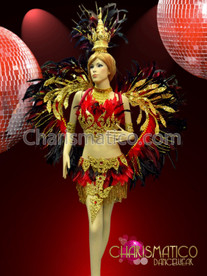 CHARISMATICO Red and Black Feathered Thai Styled Golden Phoenix Costume Set