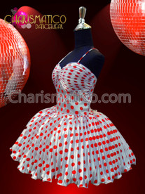 """CHARISMATICO Marilyn Monroe's White and Red Polka Dot Dress """"Some Like it Hot"""""""