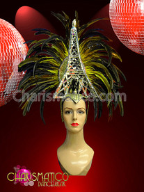 CHARISMATICO Smaller Silver and Gold Eiffel Tower Inspired Headdress with Yellow Feathers