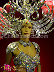 CHARISMATICO Sword Like Fierce Mirror Finished Crystal Studded Impressive Silver Headdress
