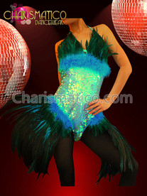 CHARISMATICO Iridescent Sequined Blue and Black Feather Gaga Inspired Diva Dress