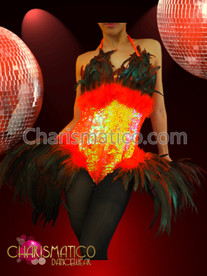 CHARISMATICO Exotic Sequined Orange and Black Feather Gaga Inspired Diva Dress