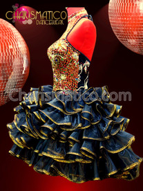CHARISMATICO Gold Beaded and Sequin Embellished Iridescent Black Organza Ruffle Dress